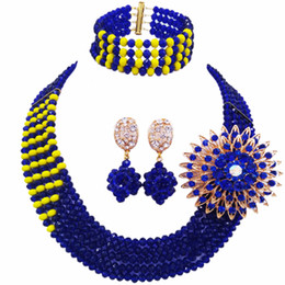 cuentas amarillas de nigeria Rebajas Venta al por mayor 12 unids Royal Blue Yellow Multi Strands Collar Llamativo Beads Africanos de Boda Joyería Nigeriana Conjunto Cristal 5JZ15