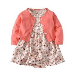 Wholesale Spring Jackets Baby Girl - Autumn Baby Girls Clothing Sets Spring Newborn Baby Clothes Roupa Infant Jumpsuits Cotton Baby Girl Clothes Kid Rompers+Jackets