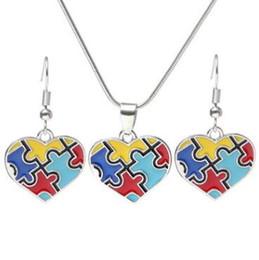 Wholesale Wholesale Autism Awareness Charm Bracelets - Autism Awareness Puzzle Jigsaw Jewelry Set Colorful Fashion Square Diamond Charm Necklace Earring Set Bracelet Jewelry CCA9197 100pcs