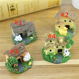 case di resina in miniatura Sconti 4 colori mini fai da te casa delle bambole carino resina artigianato casa fata giardino miniature gnome micro paesaggio decor bonsai per la decorazione domestica