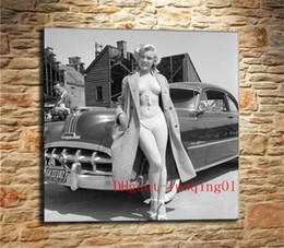 Tela verniciata auto online-Marilyn Monroe e Luxury Car-1, Canvas Home Decor HD Stampato su tela moderna (Senza cornice / Cornice)