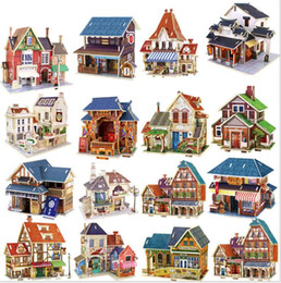Wholesale 3d Puzzles Wooden House - 3D Wood Puzzle House Construction Building Learning Toys France French Style Coffee House Puzzle DIY Model Wooden Puzzle