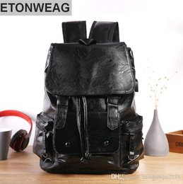 backpack factory Promo Codes - Factory wholesale brand mens contracted Leather Men shoulder knapsack outdoor leisure large capacity Korean plate leather hand-held Backpack
