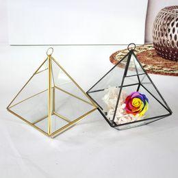 terrazzo da giardino in miniatura Sconti DHL Ship Miniature Glass Terrarium geometrica Diamond Desktop Garden Planter per giardinaggio indoor Home Decor Vasi WX9-476
