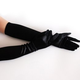 cae17ade9235 Chinese Satin Long Finger Elbow Sun Protection Gloves Opera Evening Party  Prom Costume Cooktail Fashion Gloves