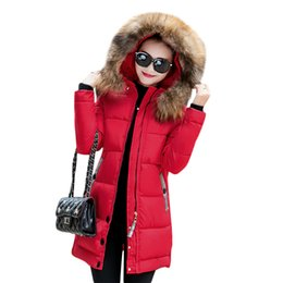 Wholesale women long winter puffer jacket - Women's Winter Warm Down Coat Faux Fur Hooded Parka Puffer Jacket Long Overcoat