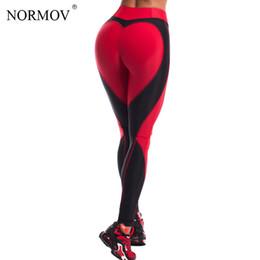 Polainas del corazón de las mujeres online-NORMOV corazón de la manera polainas aptitud de las mujeres empuja hacia arriba Legging Jeggings Activewear del remiendo de las mujeres polainas de deporte S-L