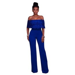 f9ce02a3494 Strapless Off Shoulder Lace Jumpsuit Long Pants Women Rompers Sexy Club Ladies  2018 Solid EleFemale Jumpsuits Overalls