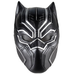Figura del lattice online-Black Panther Masks Movie Fantastic Four Cosplay Maschera di lattice per Halloween Cosplay Puntelli Marvel Superhero Figura