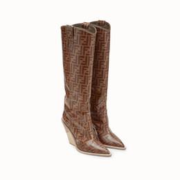 2019 stivali di coscia delle donne in lattice Stivali da cowboy in pelle stampa marrone Stivali con punta a punta Mujer New Fashion Tacchi alti Stivaletti donna stile occidentale di lusso