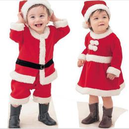 Roupas de papai noel para bebé on-line-2 Pçs / set Natal Crianças Roupas de Bebê Conjunto de Papai Noel Macacão Terno meninos meninas desempenho de Natal traje cosplay Ano Novo Onesies FFA1096