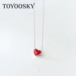 Wholesale sliver heart necklace - whole sale925 Sterling Silver Red Heart Pendant Necklaces for Women Genuine Sliver Necklace Fashion Jewelry Lover's Gift