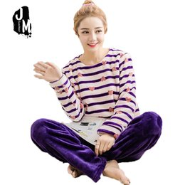 Wholesale Thick Nightgown - 2017 Spring Winter Thick Coral Fleece Woman Pajamas Sets Sleep suits with pants Long Sleeve Female Cartoon Animal Home Clothing