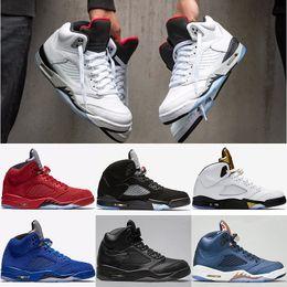 Wholesale Metallic Tables - 2018 Men 5 5s Basketball Shoes OG Black Metallic Red Suede blue Olympic Metallic Gold Brozen camo sport Sneakers Eur 41-47