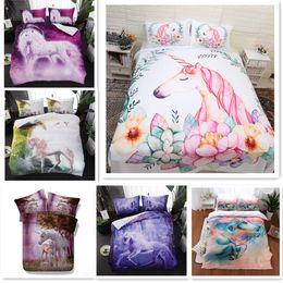 2019 blaue krippe bettwäsche-sets Fanaijia Kinder 3D Blumen Einhorn Bettbezug mit Kissenbezug Cartoon Blume Bettwäsche-Sets Queen-Size-Sternenhimmel Bett Bettwäsche