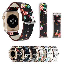 Blume leder uhr online-Für apple watch strap bands echtes echtes leder blume riemen band 38 / 42mm armbänder mit adapter