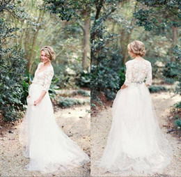 Wholesale gold vintage romantic wedding dress - Modest 2017 Romantic Bohemian Lace Wedding Dresses with Half Sleeves Plunging Neckline Beading Sash Tulle A Line Pregnant Wedding Gowns