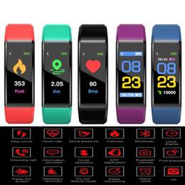 2019 recordatorio de pulsera Auténtica pulsera inteligente 115 Plus para iPhone Android Teléfono móvil inteligente 90mAh Memoria recordatorio de la batería Pantalla táctil Pulseras coloridas rebajas recordatorio de pulsera