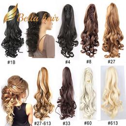 2019 pince à cheveux Clip synthétique fait à la main de Bella Hair® dans les extensions de cheveux en queue de cheval griffe Body Wave 20 pouces Couleur # 1B # 4 # 6 # 8 # 10 # 16 # 27 # 30 # 33 # 60 # 613 # 99J # 27/613 pince à cheveux pas cher