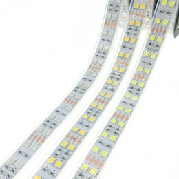 Wholesale led strip lights waterproof tube - LED Strip 5050 120 LEDs m DC12V Silicone Tube Waterproof Flexible LED Light Double Row 5050 LED Strip 5m lot