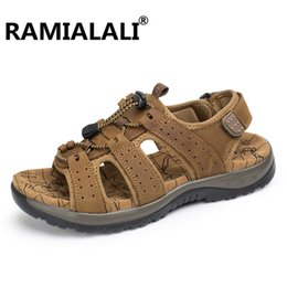 Wholesale Real Injection - Ramialali Handmade Genuine Leather Summer Men Shoes Real Leather Beach Sandals Retro Slippers Breathable Casual Footwear Chinelo