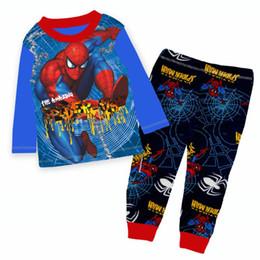 Pijamas azules online-Venta al por mayor Niños Pijamas Azul Sets Niños 2018 Pijamas de Dibujos Animados Niños Primavera Pijamas Sets para 2-7Y 9392