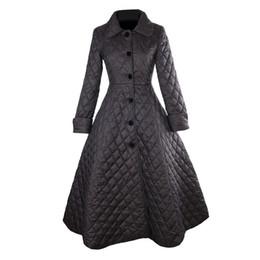 30- Frauen Vintage 50er Jahre Audrey Hepburn schwarz Quilten lange Schaukel Mäntel plus Größe 4xl Trenchcoat Abrigos mujer Casaco von Fabrikanten
