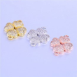 Wholesale Silver Leaf Connector - Wholesale 2018 Micro Pave CZ Four Leaf Clover Connectors Charms Pendants Craft DIY Findings Handmade Necklace Bracelet Jewelry Accessories