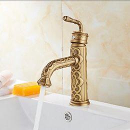 Wholesale ceramic bathroom wash basin - High Quality Luxury antique bronze copper carving Deck mounted basin faucet Bathroom wash basin faucet sink Mixer Tap