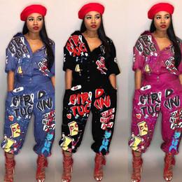 macacão rosa de inverno Desconto 2018 New Style Moda Hip Hop Mulheres Macacão Playsuit Carta Especial Turn Down Collar Meia Manga Romper