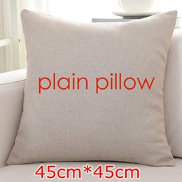 Wholesale Free Cushion Cover Patterns - DIY New plain flaxen color blank linen cushion cover blank pillow case wholesale provide pattern custom print design picture 45*45cm free