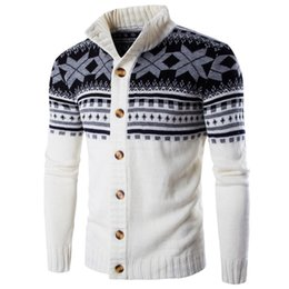 big thick sweaters Promo Codes - Men's Sweater Coat New Fashion Spring Autumn Winter Snowflake Thick Warm Knitwear Cardigan Coat Casual Big Size 2XL