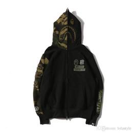 Wholesale Long Sleeve Batwing - 2018 Men's Hip Hop Camouflage Splice Shark HoodieTeenager Skateboard Loose Fashion Hoodies Moletom Zipper Cardigan Jackets Free Shippin