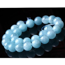 precious blue stone Promo Codes - High Quality Genuine Natural Green Blue Aquamarine Semi-precious stones Round Loose Beads 4mm 6mm 8mm 10mm 12mm 14mm