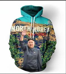 Corée hommes de la mode hip hop en Ligne-Nouvelle Mode Hip Hop 3d Hoodies Corée Du Nord Kim Jong Un Femmes / Hommes À Capuche À Manches Longues Sweats À Capuche LMS0068