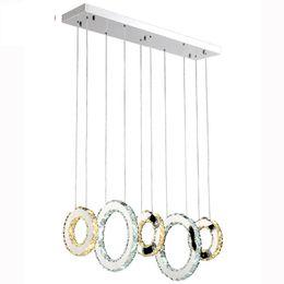 Luxo Contemporâneo LEVOU Luzes Pingente de Cristal K9 Lustres de Cristal de Iluminação Com 3/5 de Cristal Circulares Para Sala de estar Restaurante