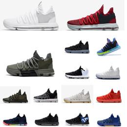 premium selection 634d3 a8603 kds sneakers Rabatt Günstige Männer KD 10 X niedrige Spitzen  Basketballschuhe bhm rot weiß grau schwarz