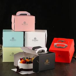 2019 kuchenboxen 6-Zoll-Tortenschachtel mit Fenstergriff Kraftpapier Käsekuchen Box für Kinder Geburtstag Hochzeit Home Party rabatt kuchenboxen