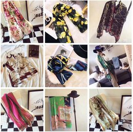 Wholesale Floral Gift Wrap - Luxury brand designer long scarf High quality women floral flower design silk scraves shawl wrap 180x90cm Christmas Birthday gifts