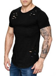 Wholesale Sports T Shirts Mens - Large Size Mens Clothing Short T Shirts With Broken Holes Tops Short Sleeved Sports Fashion Wear Summer Clothes Tees