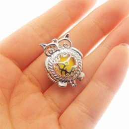 Wholesale owl supplies - 8pcs Rhodium Plated owl Cage Jewelry Making Supplies Copper Beads Cage Pendant Essential Oil Diffuser Trendy Locket Gift
