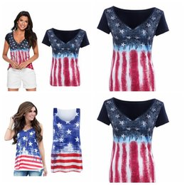 Wholesale Women S American Flag Shirt - Women American Flag Loose 4th Of July short sleeve T-shirt Tops Blouse Plus Size 10pcs YYA1056