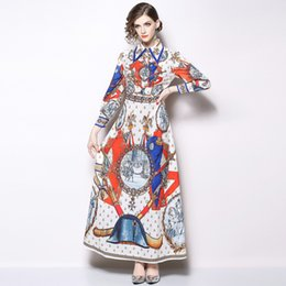 e830e5dc87c Women Maxi Runway Dresses Vintage Print Single Breasted Shirt Dresses Long  Sleeve Slim Fit Floral Dress