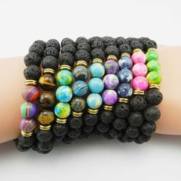 Wholesale black stretch bracelets - New Design High Quality Black Lava Stone Jewelry Sea Sediment Imperial Beads Stretch Energy Yoga Gift Bracelets