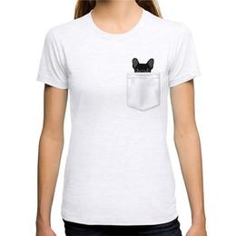 Imprimir camiseta Hipster mujeres O-cuello bolsillo francés Bulldog manga corta compresión camisetas desde fabricantes