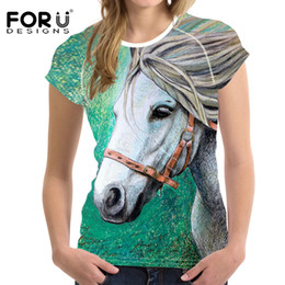 Wholesale 3d Shirts For Girls - FORUDESIGNS 3D Crazy Horse Women Casual T Shirt For Girls Summer Female Shirt Short Sleeved Ladies T-shirts Woman Tops Feminine
