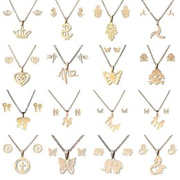 Wholesale family earrings - Stainless steel ECG Clavicle necklace Earrings set sweater chain hand bear heart butterfly family member cross elephant bird pendant 162624