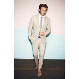 Imagens de gravata on-line-Novo 2017 Custom Made Bege Casamento mens ternos Smoking Barato Imagem Real de Três Peças Formais Noivo Dos Homens Terno (jaqueta + calça + gravata)
