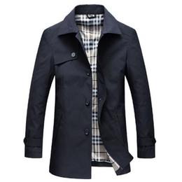Männer trenchcoats britischen stil online-Tangcool 2018 Frühling Slim Fit lange Mäntel Männer britischen Stil Business Outwear hochwertige klassische Windbreaker Graben