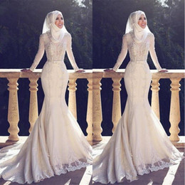 Wholesale Lace Champagne Long Sleeved Dresses - 2018 Muslim Pakistan Middle East Wedding Dresses High Neck White Applique Lace Long Sleeved Bridal Wedding Gowns